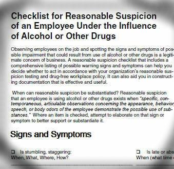 Checklist for reasonable suspicion training and documentation