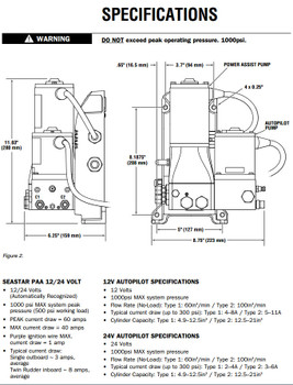 SeaStar PA7020 Marine Hydraulic Steering Power Assist and Type 2 AutoPilot Pump 24v 110cu.in.