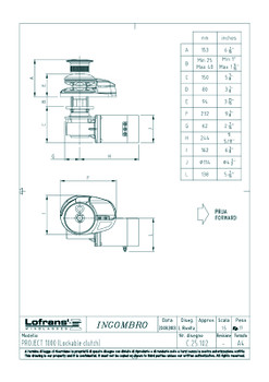 Dimensional drawing for a Project 1000 anchor winch with capstan and lockable clutch.