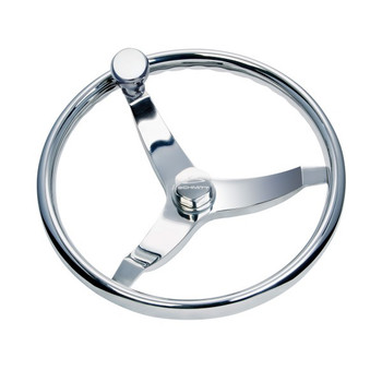 "13 1/2"" Thirteen And A Half Inch Vision Elite 316 Cast Stainless Steel Steering Wheel with Press Fit Control Knob Delrin Bearing 7161321FGK-3 - 3/4"" Three Quarter Inch Tapered Shaft - Stainless Center Nut - 22 Twenty Two Degree Of Dish"