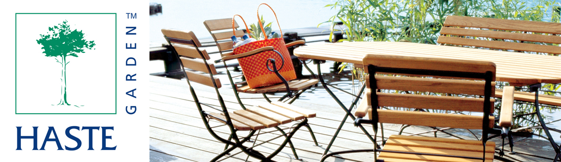 Haste Garden Teak folding tables and chairs