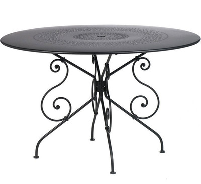 "The 1900 46"" pedestal table shown in liquorice."