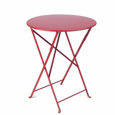 "The Bistro folding 24"" round table shown in chili."