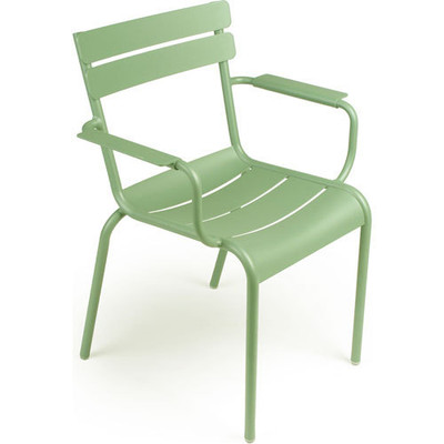 The Luxembourg Stackable Arm chair shown in Willow Green.