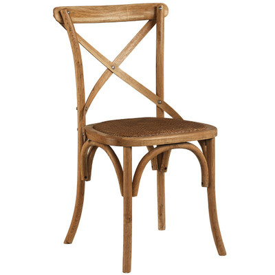Bent wood with woven cushion this versatile chair combines well with any of our dining tables Like handmade chairs from 150 years ago, this beautiful little cross-backed wooden chair is a practical, lovely chair that is versatile enough to grace any rustic setting.