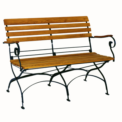 The Rebecca folding bench works perfectly for an entryway or in the garden.