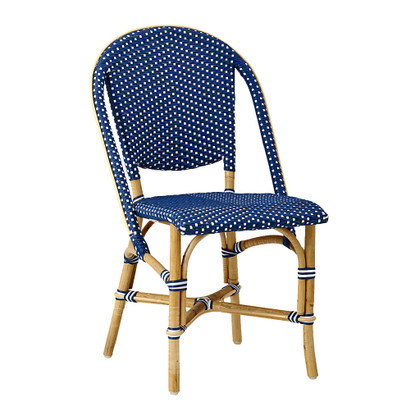 sofie side chair navy blue with white dots bistro patio furniture