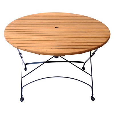 Foldable Round Wood Table-Umbrella Hole