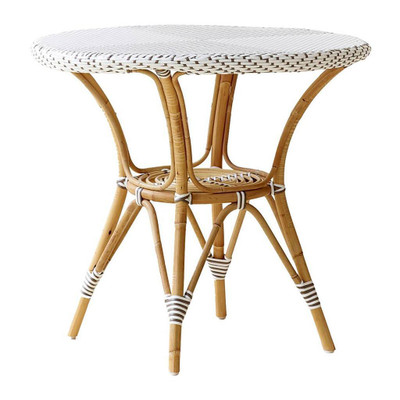 Danielle Cafe Table, Cappuccino With White Dots and Glass Top