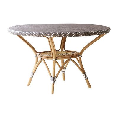 Danielle Dining Table, Cappuccino With White Dots and Glass Top