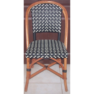 Rattan Cafe Chair in Black/Ivory