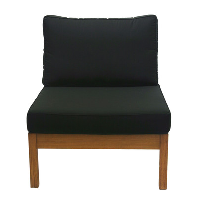 Kamea Armless Chair with Black Cushion
