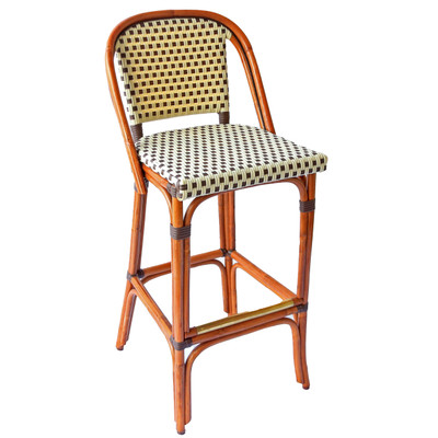 St. Germain Rattan Bar Stool in an Ivory/Brown Square pattern with dark honey frame.
