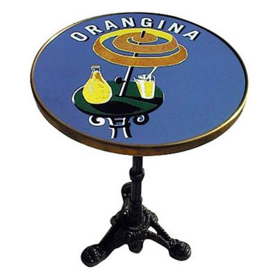 """Orangina 24"""" French Enamel Top table with a 3 prong base."""