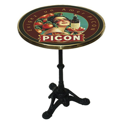 "Picon 24"" French enamel top table with a 3 prong base."