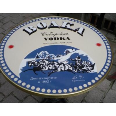 "Boaka Vodka 24"" French Enamel table with 3 prong base."