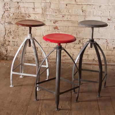 Vintage Adjustable Stools. Industrial Adjustable Bistro Chairs