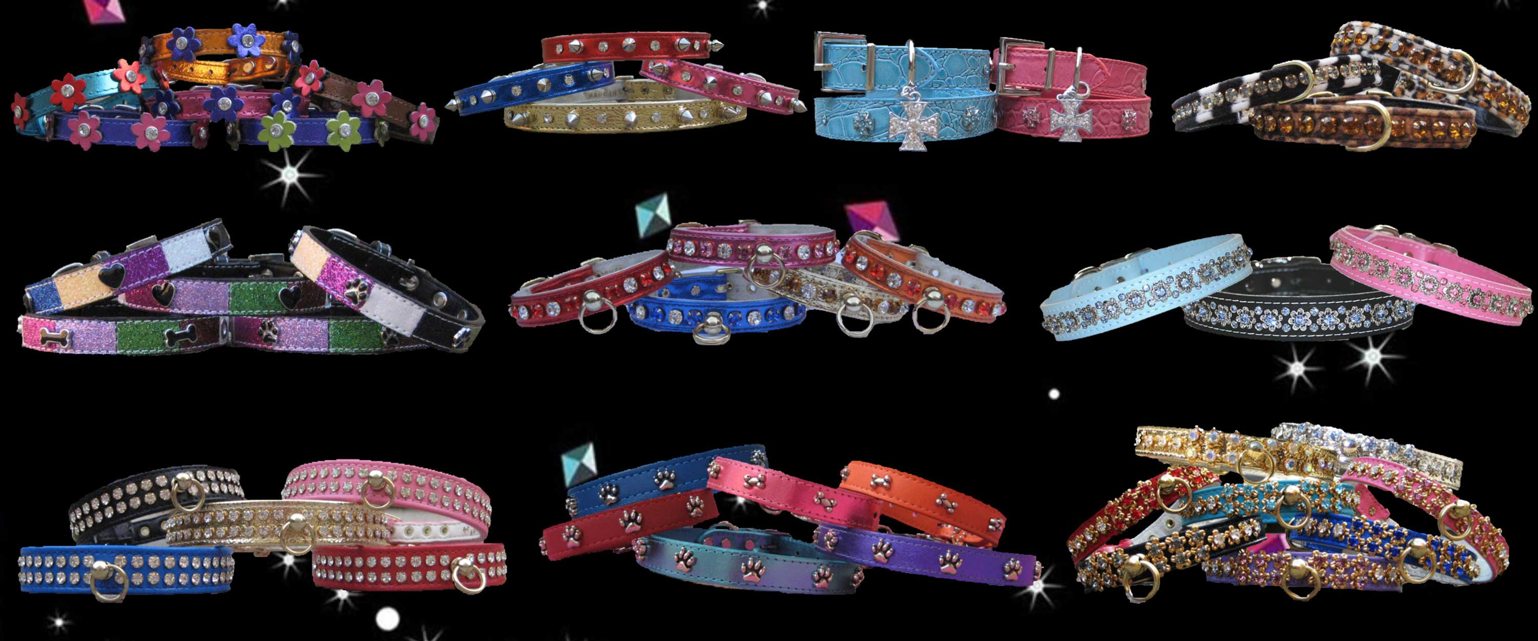 Crystal and Leather collars for dogs and cats