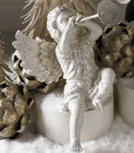 "12"" White Glitter Cherub with Horn (style A)"