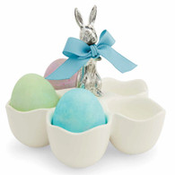 Ceramic five section egg cup  Metal bunny handle  5.5 x 5