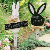 """Easter Yard Signs  Wood bunny yard signs  Burlap bowls and chalkboard  for personalization  White Bunny  30"""" x 13""""  Black Bunny   28"""" x 11"""""""