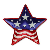 "Shaped patriotic Star plate  Materials: glass Measurements: 12""w x 12""h"