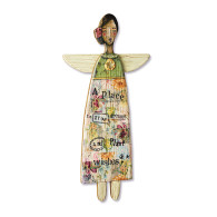 "Wood Angel Garden Art  Materials: pine wood Measurements: 13""w x 24""h Seasonality: Everyday Sentiment: A place to grow dreams and plant wishes"