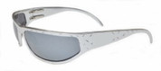OutLaw Eyewear Felon Diamond Plate Aluminum Biker Motorcycle Sunglass, Polished Aluminum frame with Silver Chrome lenses