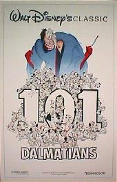 101 DALMATIANS original issue folded 1-sheet movie poster