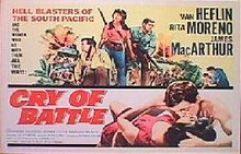 CRY OF BATTLE original issue 22x28 rolled movie poster