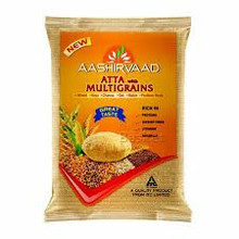 Aashirvaad Atta with Multigrains From the stable of India's most trusted Atta brand - 'Aashirvaad' - comes a new variety – Aashirvaad Atta with Multigrains. This all-new variant is designed to provide nourishment for people of all ages and is an integrated mix of six different grains – wheat, soya, channa, oat, maize& psyllium husk – which gives a healthy option for the consumers. Aashirvaad Atta with Multigrains is an excellent source of vitamins which are vital in strengthening immunity and extra protein content to improve body strength. The extra fibre makes your food easier to digest; low content of saturated fat keeps your heart smiling. And above all, it still retains the same great taste!!