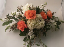 Orange and White Sweetheart Table