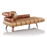 "83"" Long sofa chaise beige Italian leather waxed exotic hard wood spectacular"