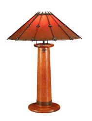 "31"" H Table lamp polished exotic solid wood large leather shade bindings 1 bulb"