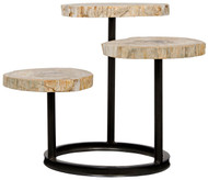 "35"" Vinícius Accent Table Corado w/Petrified Wood Tops As Is Metal & Petrified"