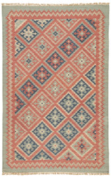 5' x 8' Area Rug Rectangle Red Blue Anatolia Ottoman AT01 Handmade Dhurrie Southwestern