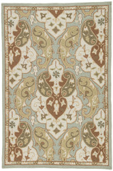 "3'6"" x 5'6"" Area Rug Rectangle Blue Brown Barcelona I-O Hoja BA15 Handmade Hand-Hooked"