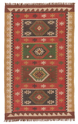 8' x 10' Area Rug Rectangle Red Gold Bedouin Amman BD04 Handmade Dhurrie Southwestern