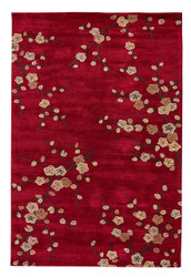 "7'6"" x 9'6"" Area Rug Rectangle Red Gold Brio Cherry Blossom BR17 Handmade Hand-Tufted"
