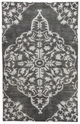 9' x 13' Area Rug Rectangle Gray Black Heritage Chantilly HR04 Handmade Hand-Knotted