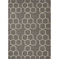 5' x 8' Area Rug Rectangle Gray White Maroc Abdel MR02 Handmade Dhurrie Contemporary