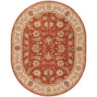 8' x 10' Area Rug Oval Red Gold Mythos Selene MY04 Handmade Hand-Tufted Traditional