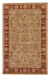 4' x 8' Area Rug Rectangle Taupe Red Mythos Anthea MY05 Handmade Hand-Tufted Traditional