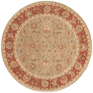 8' x Area Rug Round Taupe Red Mythos Anthea MY05 Handmade Hand-Tufted Traditional