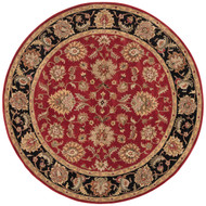 8' x Area Rug Round Red Black Mythos Anthea MY08 Handmade Hand-Tufted Traditional