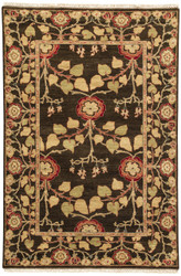 4' x 6' Area Rug Rectangle Dark Brown Green Opus Tree Of Life OP12 Handmade Hand-Knotted
