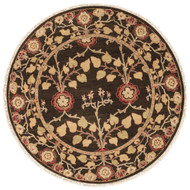 6' x Area Rug Round Dark Brown Green Opus Tree Of Life OP12 Handmade Hand-Knotted