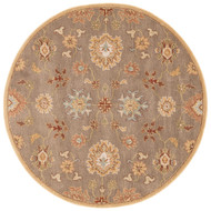 6' x Area Rug Round Brown Multicolor Poeme Nantes PM14 Handmade Hand-Tufted Traditional