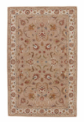 2' x 3' Area Rug Rectangle Beige Brown Poeme Normandy PM38 Handmade Hand-Tufted