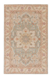 5' x 8' Area Rug Rectangle Beige Blue Poeme Orleans PM50 Handmade Hand-Tufted